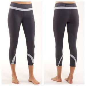 Lululemon Run Inspire crop gray striped leggings